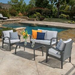 Outdoor Patio Furniture Grey Wicker Luxury 4pc Sofa Seating Set