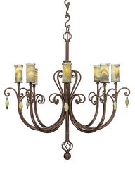 Traditional 8 light candelabra style Hand Crafted Wrought Iron Chandelier Onyx