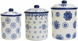3-Pieces Vintage Berries Blue Stamp Earthenware Round Knobs Ceramic Canister Set
