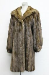 RUSSIAN SABLE FUR Hooded Semi-Long Coat with refurbished Hermes Scarf Lining