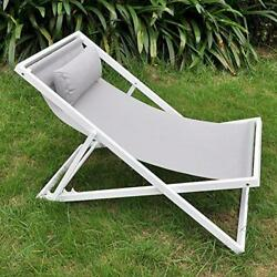 Outdoor Patio Folding Sling Beach Chair with Headrest ART TO REAL Lightweight