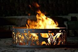 Steel Campfire Ring Dogs Ducks Firepit Backyard Fireplace Camping Gear Wood