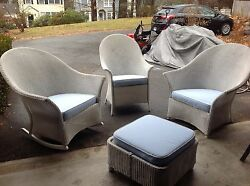 **REAL**Wicker Outdoor White Porch Chairs and FootrestCushions Patio Furniture