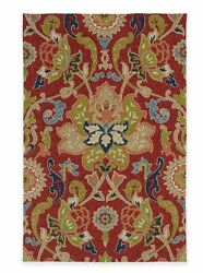 Damask Area Rug Red Floral Indoor Outdoor 5 ft x 7.5 ft Spring Carpet Porch Home