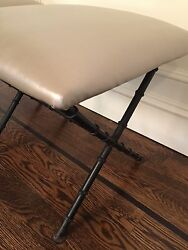 **NEWLY REUPHOLSTERED** Pair of Vintage Iron Faux Bamboo X Benches