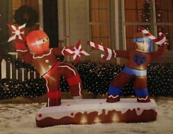 6.8  Inflatable Dueling Gingerbread Man Ninjas Christmas Outdoor Yard Decor New