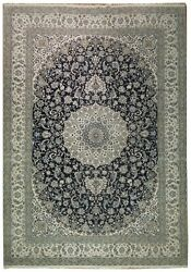 ORIGINAL 13' x 19' Handmade Silk&Wool Persian Nain Rug Navy Blue Luxurious Rug