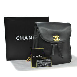 Auth CHANEL CC Chain Backpack Bag BK Caviar Skin Leather Vintage Italy AK07788