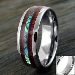 68mm Tungsten Men's Hawaiian Koa Wood & Abalone Wedding Band Ring-Engraving TW