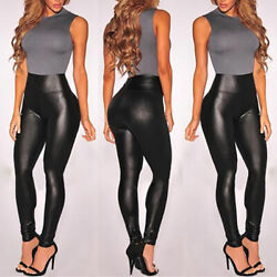 Women#x27;s High Waisted Faux Leather Leggings Stretch Pants Jeggings Slimming Pants $12.21