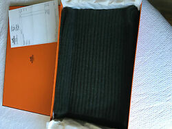 Hermes GREEN SLALOM Cashmere knit & Sable SCARF AUTHENTIC!! GORGEOUS!! RARE!!