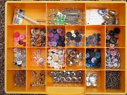 Lot of Sewing Supplies-buttons needles pins old bobbins etc.