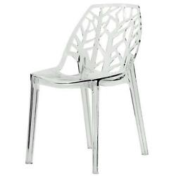 LeisureMod Modern Flora Clear Cut-out Transparent Plastic Dining Chair Kitchen