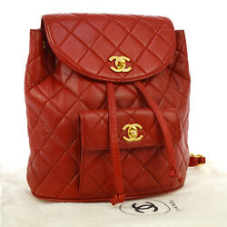 Authentic CHANEL Quilted CC Logos Chain Backpack Red Leather Vintage GHW A25208