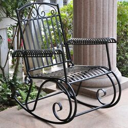 Wrought Iron Patio Furniture Rocking Chairs For Adults Outdoor Veranda Vintage