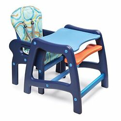 Multi-Stage Adjustable Envee Baby Washable High Chair and Play Table in Blue New