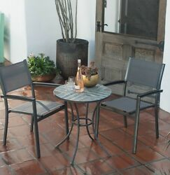 3-Piece Patio Bistro Set Sling Chair Stone Table Stack Storage Outdoor Yard Porc