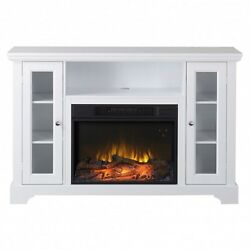 White Fireplace Tv Stand Remote Control Adjustable Electric Heater Timer Center