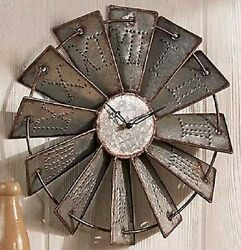 Hanging Windmill Clock Rustic Metal Country Home Log Cabin Living Room Decor