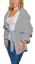 Ralph Lauren Black Label Womens Cashmere Shawl Sweater Cardigan Italy Gray Large