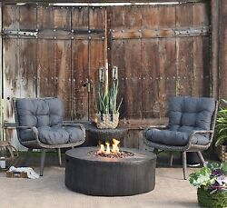 Outdoor Patio Furniture 4pc. Fall Chat Set Chairs Table Propane Firepit Gas Heat