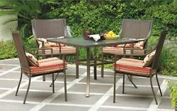 Red 5 Piece Outdoor Patio Furniture Dining Set Folding Chair Metal Table Deck