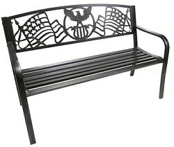 Patriotic Garden Bench Outdoor Patio Porch Pool Deck Backyard Lawn Decor
