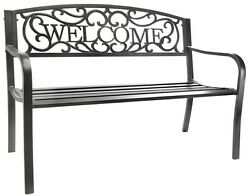 Welcome Garden Bench Outdoor Patio Porch Pool Deck Backyard Lawn Decor