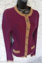 CHANEL 100% CASHMERE BURGUNDY MAROON CARDIGAN KNIT SWEATER SZ 38 100% AUTHENTIC
