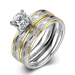 Stainless Steel Bridal Engagement Set Ring Yellow Gold AAA Zirconia Women B442 $6.99