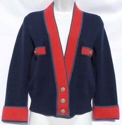 CHANEL 13C Paris Versailles Navy Blue Red Teal Cashmere CC Cardigan Sweater 36