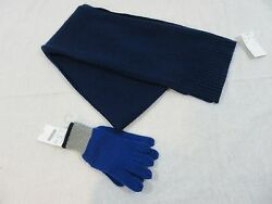 J Crew Crewcuts Boys Cashmere Scarf and Gloves Size Small in Navy NWT