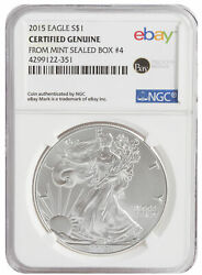 2015 $1 1oz Silver American Eagle -- NGC Certified from U.S. Mint Sealed Box 4