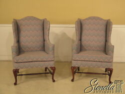 39675: Pair THOMASVILLE Queen Anne Flame Stitched Wing Chairs