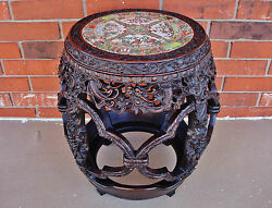 Chinese Qianlong Period Zitan Barrel-Form Stool w Rose Medallion Porcelain Top