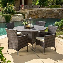 Outdoor 5pc Multibrown Wicker Dining Set