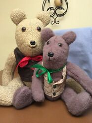Teddy Bear Lot of 2 Stuffed Jointed Country Primitive Decor 15