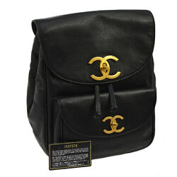 Authentic CHANEL CC Chain Backpack Bag Black Caviar Skin Leather Vintage AK12758