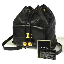 Auth CHANEL Quilted CC Chain Drawstring Backpack Bag Black Leather VTG BA01588