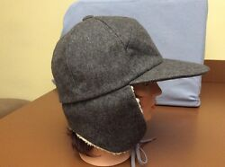 Bergdorf Goodman mens shearling trapper hat Gray Size Large Wool Blend ITALY