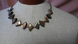 Vintage Art Deco Handcrafted Copper Triangle Segment Egyptian Style Bib Necklace