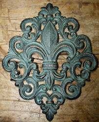 HUGE Cast Iron FLEUR DE LIS Plaque Finial Garden Sign Home Wall Decor Rustic $9.99