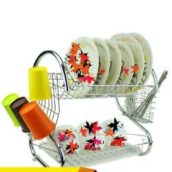 Kitchen Storage 2 Tiers Dish Cup Drying Rack Holder Organizer Drainer Dryer Tray $15.59
