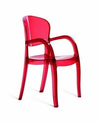 Modrest Joker - Modern Italian Dining Chair Clear Red Plastic