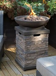 Outdoor Propane Firepit Gas Fire Bowl Patio Furniture Deck Heater Cover Lavarock