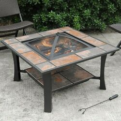 Fire Pit Bowl Table Ceramic Tile Top Outdoor Wood Burning Heater Brown Bronze