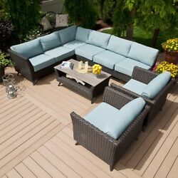 5 Piece Patio Set Wicker Blue Cushions Outdoor Seating Sectional Yard Deck Table