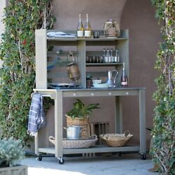 Planting Table Bench Portable Gray Wood Patio Cart Planter Garden Supplies Shelf