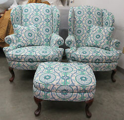 Classic  Wing Chairs (Pair) & Ottoman in Oh Suzanni Fabric