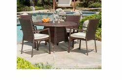 Patio Furniture Dining Set For 4 Five Piece Wicker With Cushions Outdoor Deck